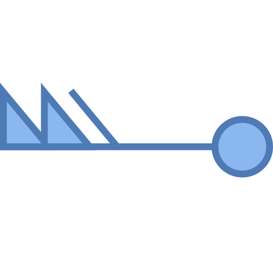 Wind Speed 103-107 icon. This icon describes high speed winds which shows a horizontal line with patterns on each end. One end has two large triangles filled in, next to one line leaning towards the triangles. The other end has a small circle that is not filled in.