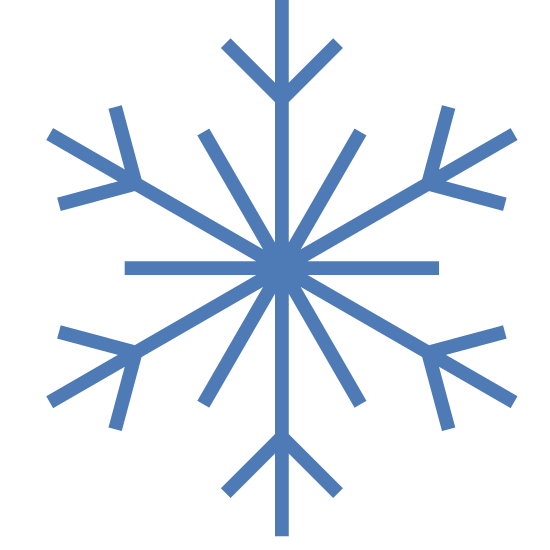 Zima icon. This icon represents winter. It is in the form of a circle with 6 straight lines that extend from a circle center. Each spoke has tiny extensions on the end to create a starburst effect. It looks like a snowflake design.
