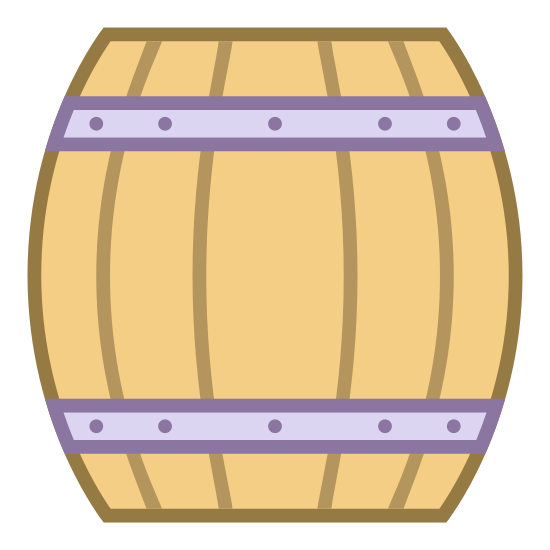 """Wooden Beer Keg icon. This is a icon of a """"wooden keg"""". The keg is separated into four sections to look like wood planks, it also has two bands on it. One of the bands is at the top and the other is at the bottom of the keg, they are both thin compared to the planks."""