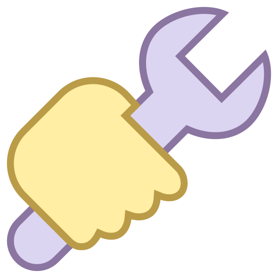 Praca icon. This icon is a hand holding a wrench. We see the back of the hand with the wrench's handle oriented downward at the pinky and the opening of the wrench at the top, by the thumb.