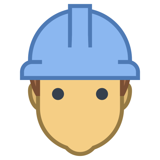 Pracownik Mężczyzna icon. This is the silhouette of the head and shoulders of a male. he lacks facial features. He has a hard hat. The hard hat looks like a semi-circle, with two nubs on the left and right of the semi-circle. There is a long rectangle sticking out of the semi-circle on the front.