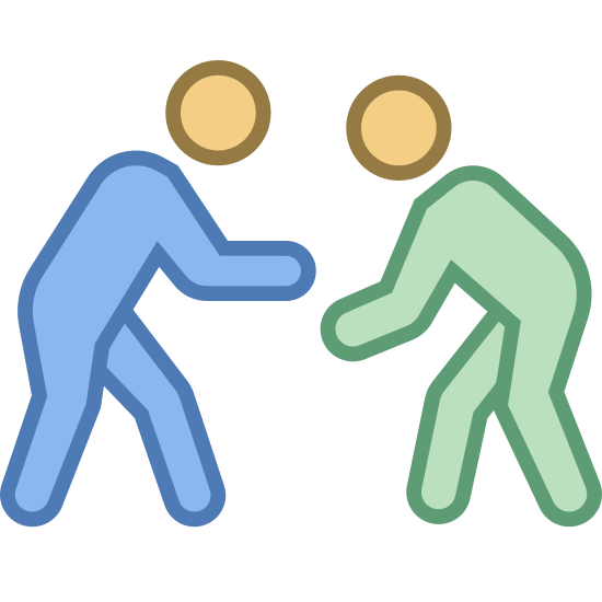 Zapasy icon. There are two men next to each other. The left man has his right arm over the right man's left arm. The left man's left leg is tilted to the right. The left man's right leg is bent. The right man's left leg is leaned on. The right man's right leg is bent forward.