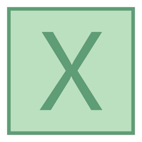 Współrzędna x icon. This is an X placed inside of a square. The square has round edges. The X is somewhat slanted, almost italicized.