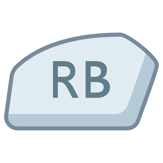 Xbox Rb icon. This icon represents the right bumper button on an Xbox controller. It is a pentagonal shape with unequal sides and RB written in the center.