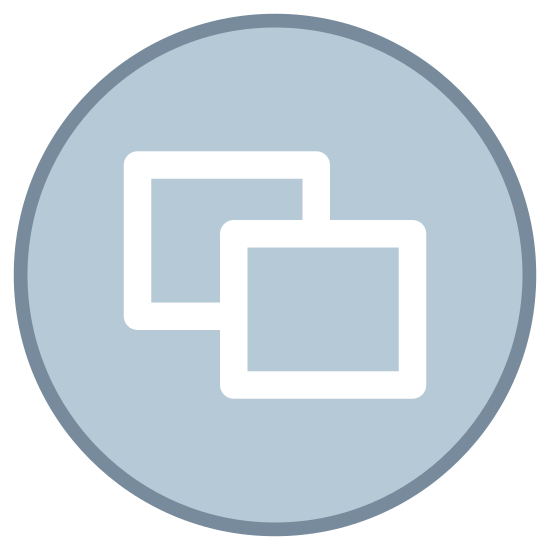 Windows na Xbox icon. The icon is that of a circle and in the middle of the circle are two rectangles overlapping each other. The first rectangle is in the middle with the second rectangle positioned to the lower right of the first and overlapping the bottom-right portion of that rectangle.