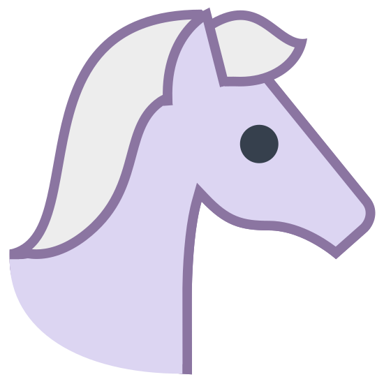 Year of Horse icon. The icon is a logo of Year of Horse. It looks like a picture of a horse facing right.