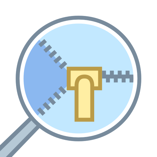 Zipper Details icon. It's a logo of Zipper Details with a vertical zipper closing from right to left.  The zipper handle is vertically down from the zip.  The icon is inside a circle with a line coming out on the lower left side of the circle.