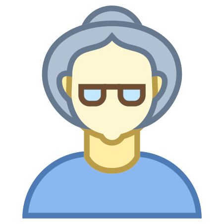 Person Old Female Skin Type 1 and 2 icon in Office