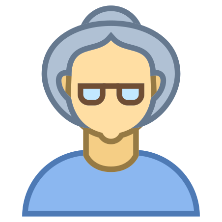 Person Old Female Skin Type 3 icon in Office