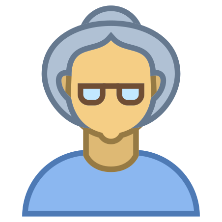 Person Old Female Skin Type 4 icon in Office