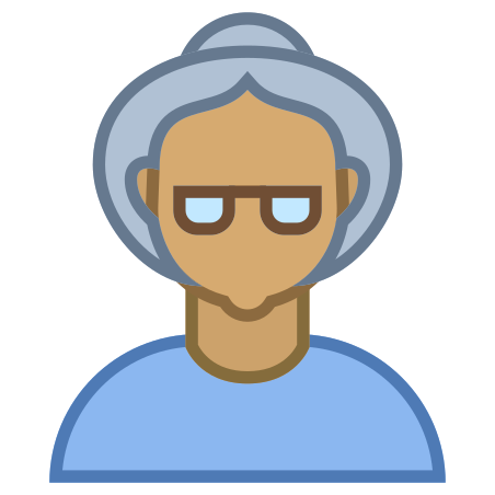 Person Old Female Skin Type 5 icon in Office