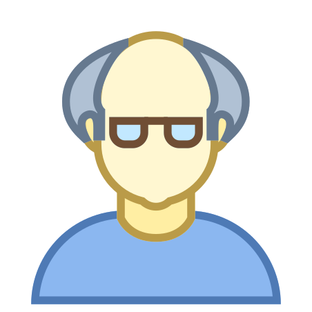 Person Old Male Skin Type 1 and 2 icon in Office