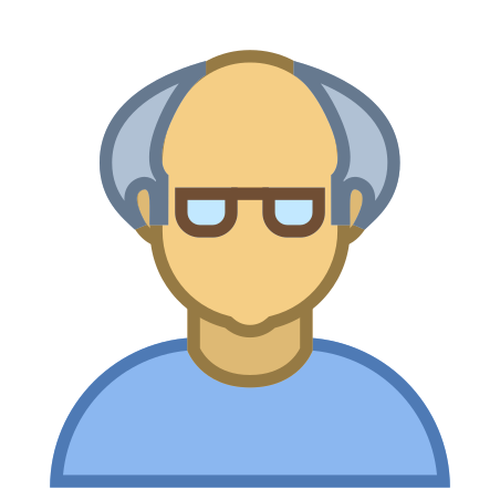 Person Old Male Skin Type 4 icon in Office