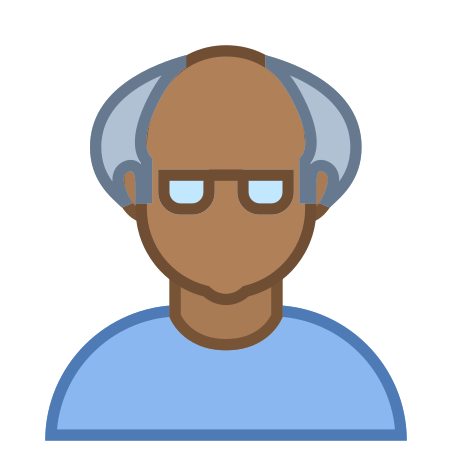Person Old Male Skin Type 6 icon in Office