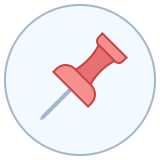 Pin in circle icon