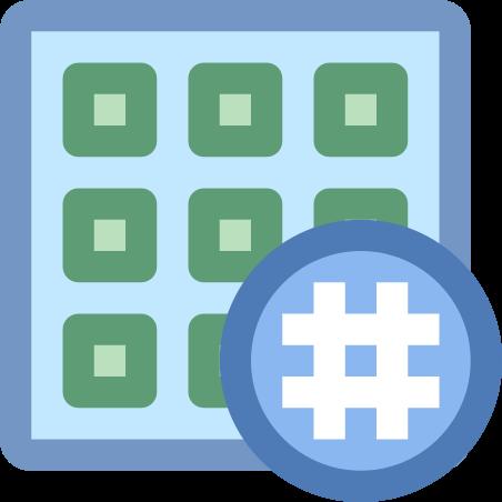 Cuadrícula actividad hashtag icon