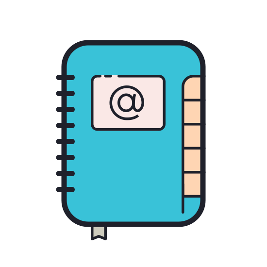 Address Book icon. This is a simple icon meant to represent an address book. It's a rectangle stood on end with rounded corners and the @ sign in the middle. The right hand side of the book is hatched with short lines to represent the rings that hold the pages inside the binder.