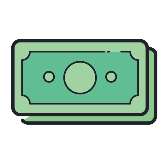 Paper Money icon. The logo consists of two paper money, The first one is horizontal, and the second money is placed behind the first money and tilted at around 45 degree angle. The first money at the front, appears to cover the half bottom part of the second money.
