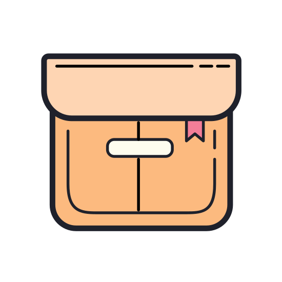 Box icon. A square creates the primary, and largest, portion of the Box icon. On top of the square is a lid, which is rectangle that extends just beyond the box on both sides and the height is quite short. A narrow, oblong cylinder in the top half of the box creates a handle.