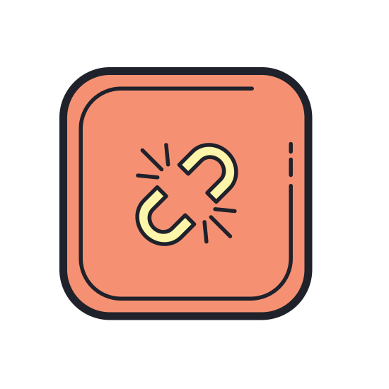 Broken Link icon. It is an icon of a broken link. It is angled at 45 degrees, with a single, straight line sitting above two broken chain links sitting side-by-side. the upper corner section of the links are missing, denoting that the link is broken.
