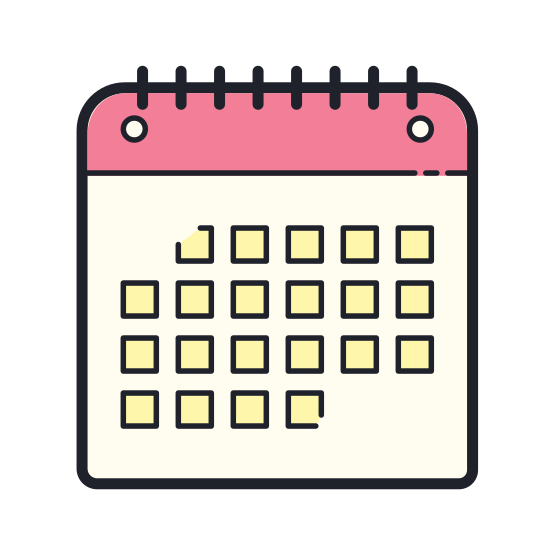 Calendar icon. This icon is meant to represent a calendar. It is simply a large rectangle with a smaller rectangle inside. This smaller rectangle is than filled with many crosshatched lines that represent the days of the week. Two tabs protrude from the top of the calendar to represent page holders.