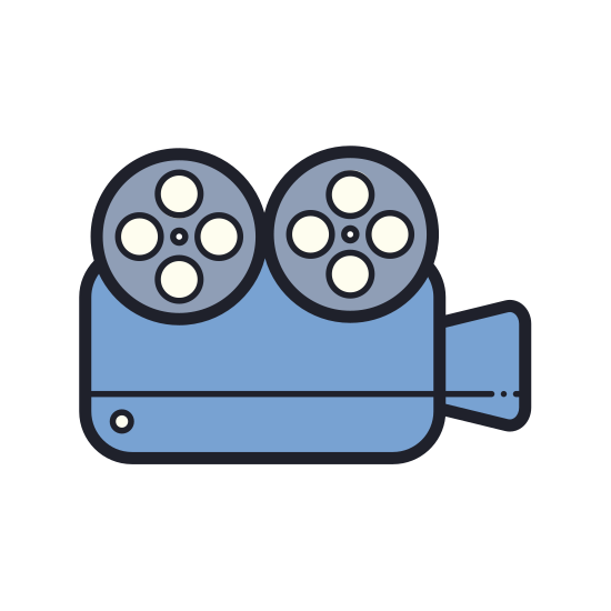 Video Camera icon. This is a shoulder mounted video camera which is standard of the movie industry. It has an external microphone and a large lens. It also has a handle on top for taking footage below waist level.