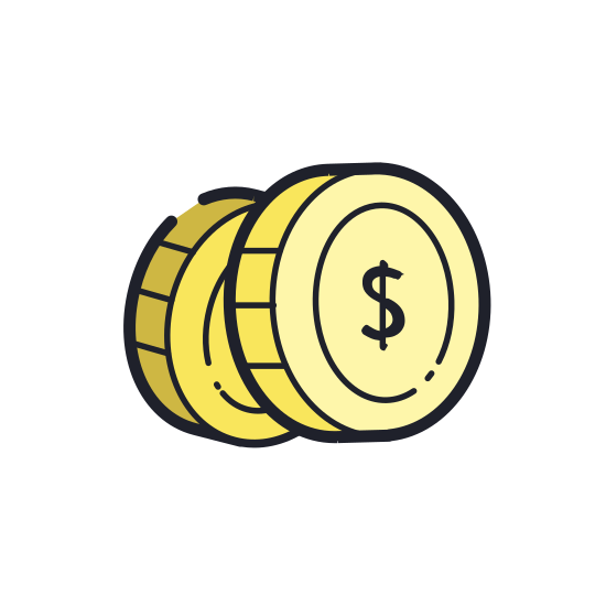 Monety icon. Two stacks of objects that could be coins. The stacks resembles vertical cylinders. The first stack is placed at 45 degree angle in front of the second stack. The first stack has three coins, placed on top of each other. The second stack, placed behind the first stack, has four coins.
