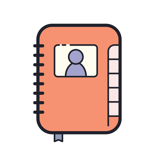 Contacts icon. The icon is of a gender-less human face and upper torso. The gender-less human is also wearing a shirt. It could be thought to resemble a two dimensional bobble head.