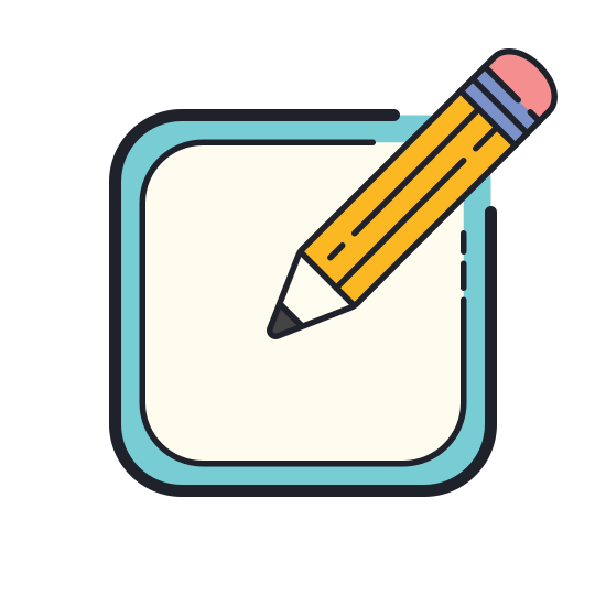 Utwórz nowy icon. The icon is a picture of a logo for Create New. The icon is in the shape of a square. The square has a pencil located at the top right. The pencils tip is facing down to the left.