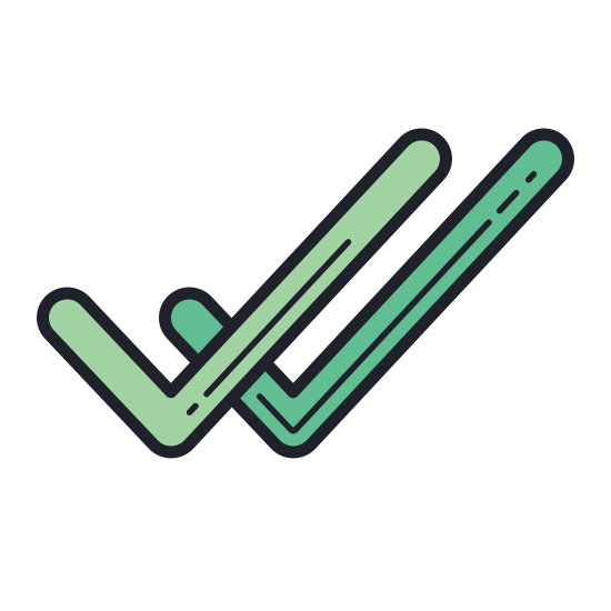 Double Tick icon. There is one check mark that is fairly large. there is a smaller check mark to the right side of the larger one. it is the same length as the first one though.