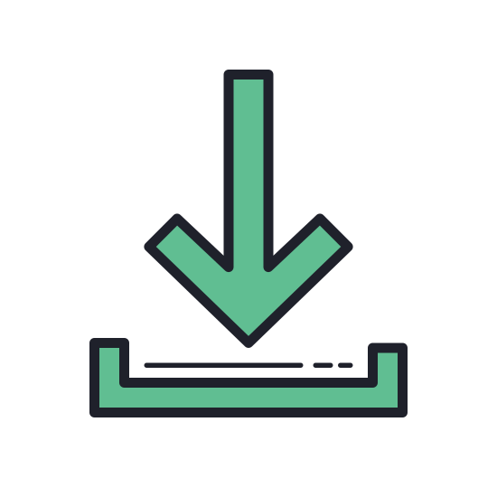 Downloading Updates icon. It's a picture of an arrow pointing down into the bottom half of a rectangle with no top.  The top of the arrow has three dots drawn in a line, replacing the top third of the solid line of the arrow.