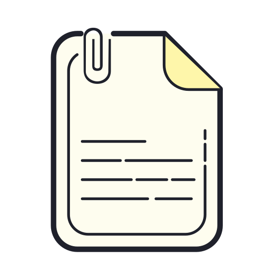 File icon. This is a simple icon meant to represent a sheet of paper with the corner folded over. It is a rectangle standing on end, so that the longer sides are vertical. The top right corner is folded over.