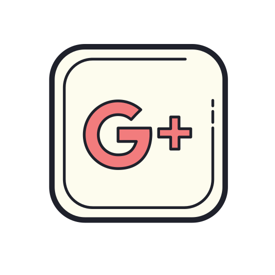 Google Plus icon. It's a logo of Google Plus reduced to the letter g and a plus sign. This logo is placed in the square with rounded corners, like a logo on the google website.