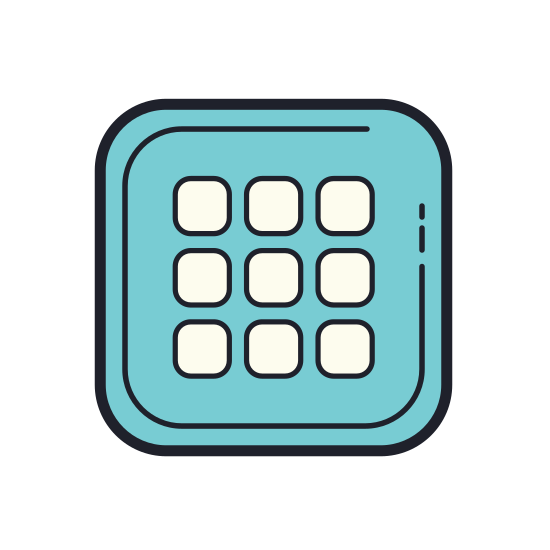Grid icon. There is a square. Within the square are 16 more tiny squares, all the same size. There are four squares across and four down. The square is filled with the other little squares.