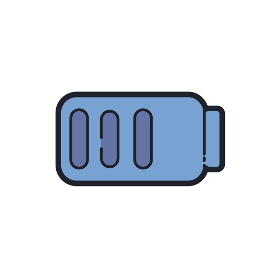 Charged Battery icon. The icon is shaped like a rectangle with curved edges. The right side of it has a small rectangle indent poking outwards. Inside the rectangle there are 6 lines equally spaced starting from the left and stopping a little more than half way.