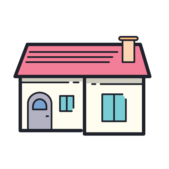 Home icon. Its where you live, theres a door to enter with a roof supporting the place to keep you safe. The right of the room has a chimney poking out.