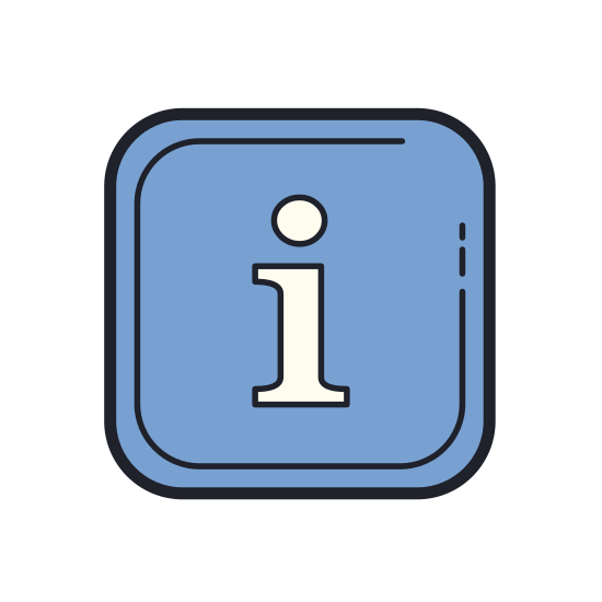 "Info icon. This is icon is a lower case ""i"" with a circle around it. It is meant to signify that the information below or next to it is important to the context."
