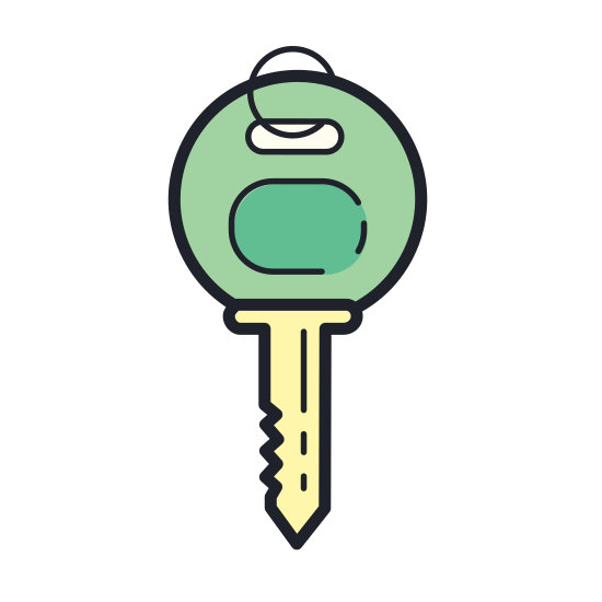 Key icon. The icon is a key, consisting of a blade and a handle. The blade has a series of small notches on it formed from straight lines with angular cut-outs. The handle consists of a circle with a semicircle cut out, for putting the key on a keyring.