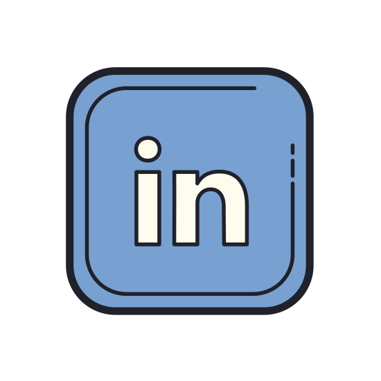 """LinkedIn icon. The icon is the LinkedIn logo, truncated to the stylized """"in"""" at the end of the website's name, within a rounder rectangle. It is a common way of symbolizing a LinkedIn social media link."""