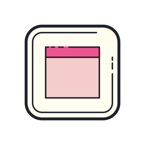Maximize Window icon. A square with another square representing the window on side the first. There is a line at the top showing the bottom of a raised window