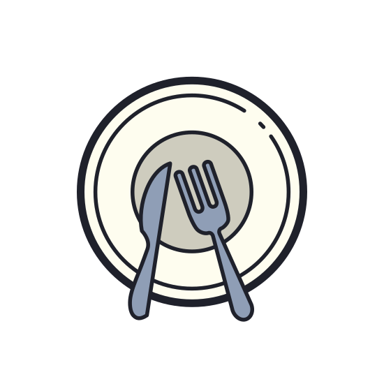 Meal icon. There is a single dish with only one fork and one knife on it. There isn't much detail to the fork or knife, just three prongs on the fork and a simple butter knife.