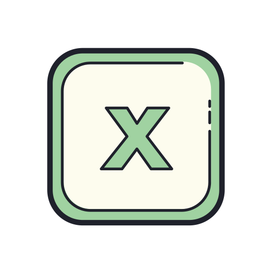 Microsoft Excel icon. There are two papers that look like a vertical greeting card. In the middle on one side, there is a big X. On the other side there are lines illustrating writing on the paper. This is a black and white picture with no color.