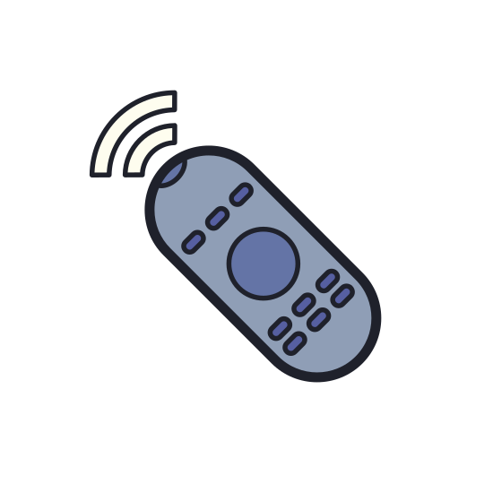 Remote Control icon. It is a rectangle shape with curved lines above the image to show movement or a flowing signal. There are 4 dots in the lower quadrant resembling the buttons on a remote. The top quadrant has a circle with a dot inside to signify the on/off button.