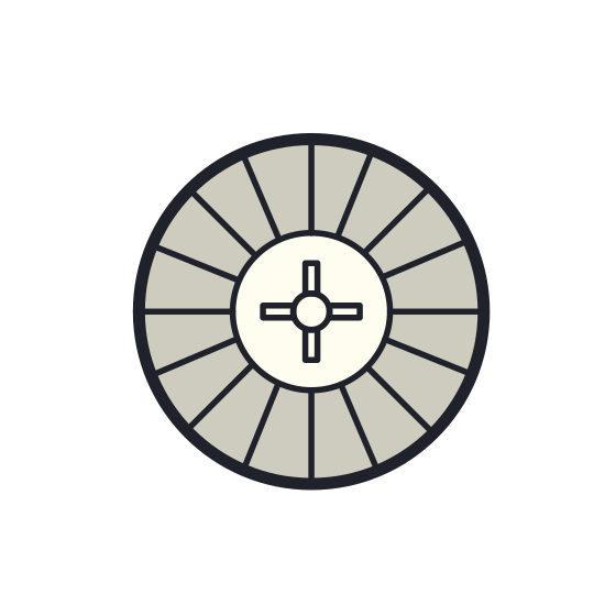 Roulette icon. It's a logo of Roulette reduced to an image of a roulette circle. The roulette is a spinning circle with several square spots in which you bet your marble will land in, if not the house will win.