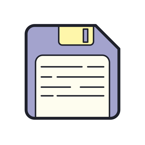 Save icon. This icon is a stylized version of a floppy disk, just like the 3.5 inch ones used so many years ago. It's made up of a square with the top right corner flattened to a notch. Inside are various squares to represent the paper label and metal sheath found on these types of disks.