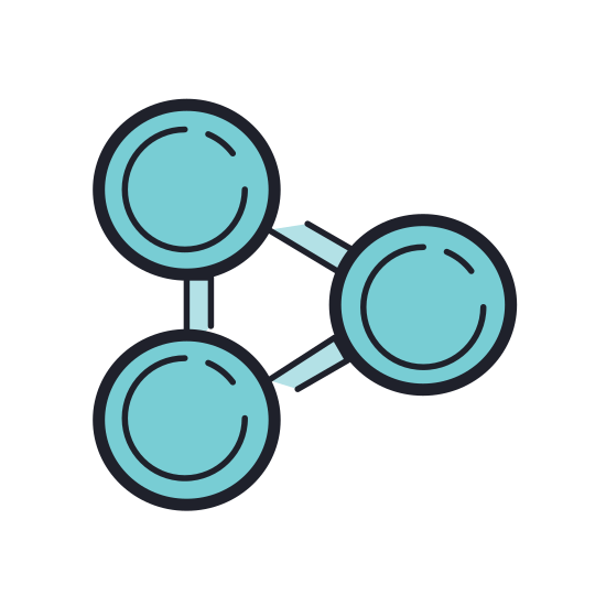 Share icon. This icon is three orbs connected with a tube. One orb is central while the two others jut out to the right, each at a different angle. A share icon is a user interface icon easily placed so that users can share content.