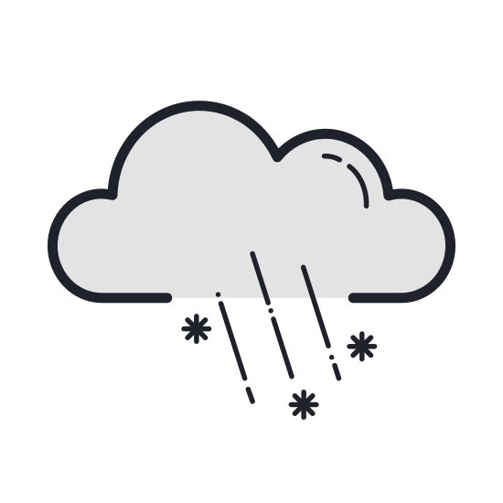 Sleet icon. This icon depicts a cloud with two lines and a symbol similar to an asterisk coming from under it.  The cloud has a line at the bottom that curves up to three bumps on top. The two lines underneath are short and slanted to the right, and the asterisk is in between the two lines in the middle underneath the cloud.