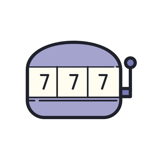 """Slot Machine icon. The icon for """"slot machine"""" is a rectangular gambling machine. The top is curved, and there is a pull-down lever attached to the right. All three of the rectangular number sections located in the middle are showing the number seven."""