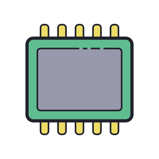 Smartphone RAM icon. This icon shows a rectangle with a thick black line. On the inside of the rectangle is a smaller rectangle formed with small bold circles, and on the top and bottom of the rectangle are smaller black boxes in a row.