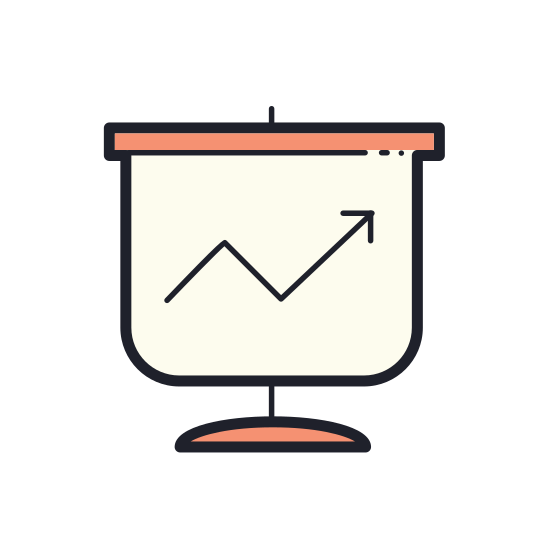 Statystyki icon. This logo is rectangular, with a line chart and statistics indicated by angled lines within the rectangle, with a base indicated by lines across the bottom of the square to the floor.